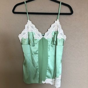Bebe light green stretch silk and lace cami